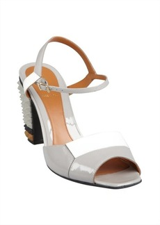 Fendi cement and white patent leather spiked block heel sandals