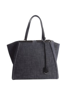 Fendi charcoal canvas '3Jours' engraved logo plate tote