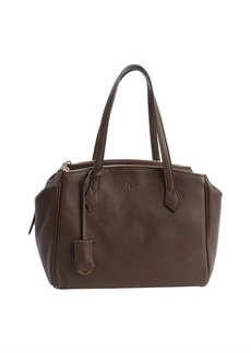 Fendi chestnut grained leather tri-zip top handle tote