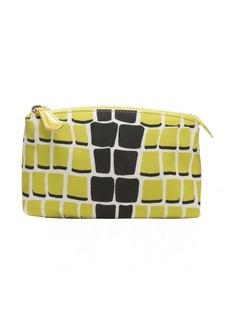 Fendi citron and black leather and nylon cosmetic bag