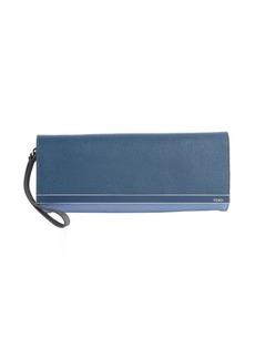 Fendi cobalt and light blue colorblock leather wrist strap clutch