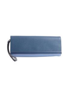 Fendi cobalt and light blue colorblock wrist strap clutch