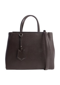 Fendi coffee and silver leather '2Jours' convertible tote