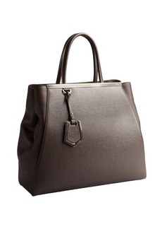 Fendi coffee textured leather '2Jours' shopper