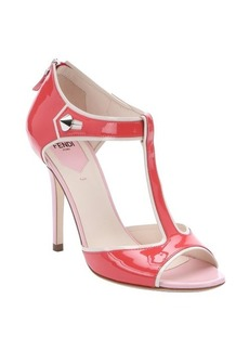 Fendi coral and pink patent leather 'By The Way' t-strap sandals