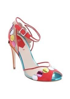 Fendi coral multicolored leather and mesh peep toe pumps