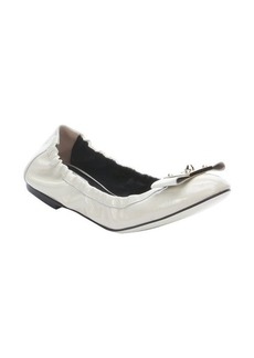 Fendi cream patent leather bow detail ballet flats