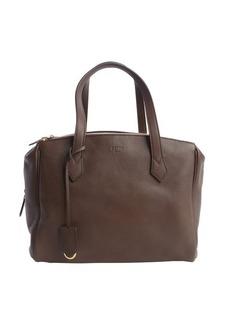 Fendi dark brown pebbled leather top handle bag