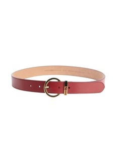 Fendi deep red leather logo buckle detail classic belt