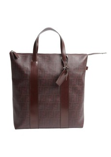 Fendi eggplant zucca print canvas and leather oversized tote