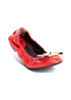 Fendi fire patent leather bow detail ballet flats