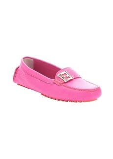Fendi fuchsia leather moc toe driving loafers