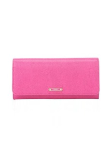 Fendi fushia leather flap front continental wallet