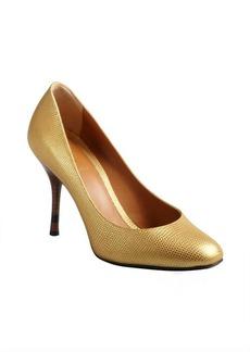 Fendi gold lizard embossed leather pumps