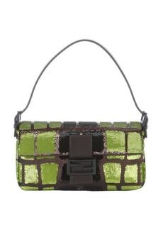 Fendi green and black sequined leather baguette shoulder bag
