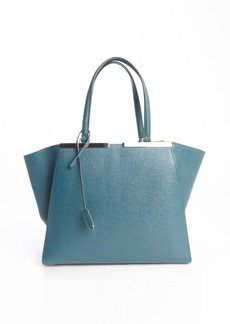 Fendi green leather '3Jours' engraved logo plate tote