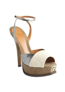 Fendi green, silver and gray suede and patent leather two-tone sandals