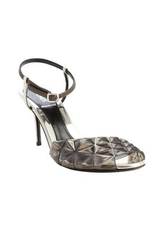 Fendi grey and black leather pyramid spike detail anklestrap heel sandals