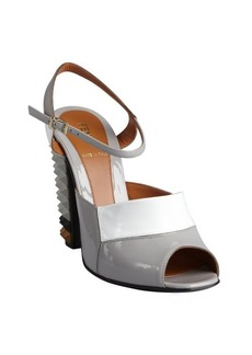 Fendi grey and white leather spiked stacked heel sandals