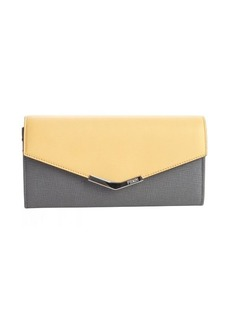 Fendi grey and yellow leather continental envelope wallet