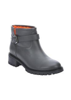 Fendi grey calfskin orange shearling ankle boots