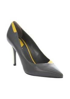 Fendi grey leather pointed toe stiletto pumps
