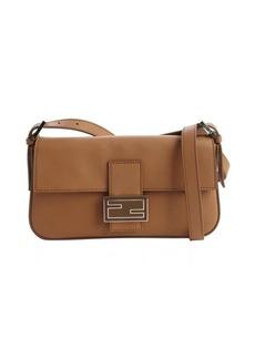 Fendi honey brown leather mini baguette shoulder bag