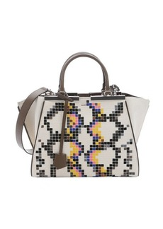 Fendi ivory and taupe pixel canvas '3Jours' mini convertible tote