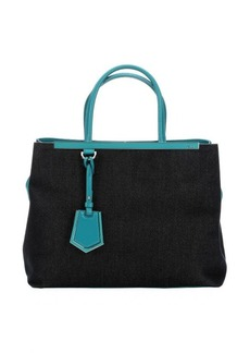 Fendi lake and navy twill '2Jours' convertible top handle tote