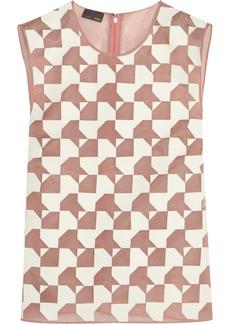 Fendi Leather-appliquéd silk-organza top
