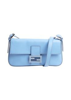 Fendi light blue leather mini baguette shoulder bag