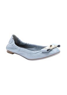 Fendi light blue patent leather bow detail ballet flats