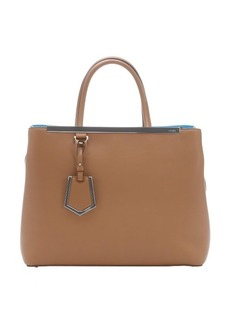 Fendi light brown and turquoise leather '2Jours' convertible tote bag