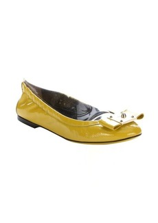 Fendi lime patent leather bow detail ballet flats