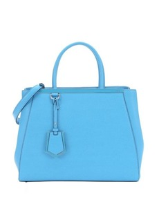 Fendi maldive blue leather medium '2Jours' convertible tote bag