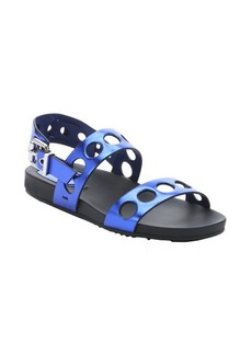 Fendi metallic blue leather cut-out strappy sandals