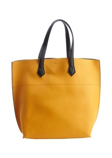 Fendi mustard and black leather top handle tote
