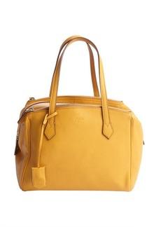 Fendi mustard yellow leather tri-zip top handle tote
