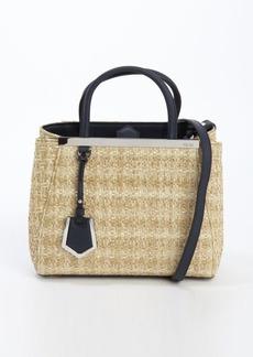 Fendi natural raffia and lavagna leather '2Jours' petite convertible top handle bag