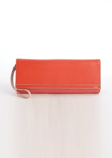 Fendi orange and pink colorblock leather wrist strap clutch