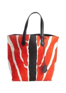 Fendi orange and white nylon animal print top handle tote