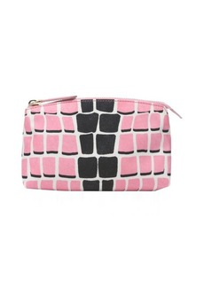 Fendi pink and black leather and nylon cosmetic bag