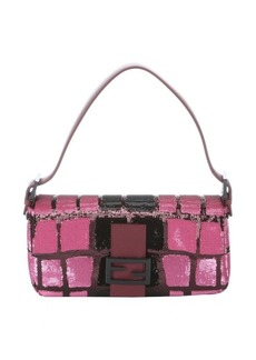 Fendi pink and black sequin and leather baguette