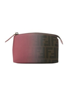 Fendi pink and tobacco ombre degrade canvas cosmetic bag
