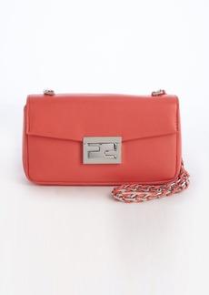 Fendi pink leather foldover chain shoulder bag