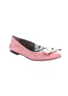 Fendi pink patent leather bow detail ballet flats