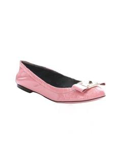 Fendi pink patent leather bow detail ballet flats