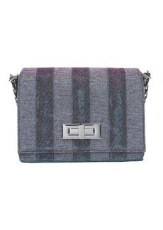 Fendi plum glitter mesh striped shoulder bag