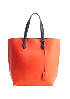 Fendi poppy orange and black leather top handle tote
