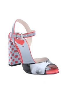 Fendi powder blue and red printed leather strappy sandals